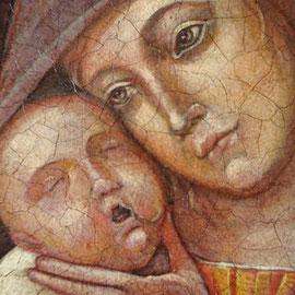 """""""Madonna col Bambino"""" – omaggio a Mantegna (particolare) - tecnica mista su tavola cm. 22 x 17,5 ex voto, Cernusco sul Naviglio"""