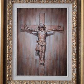 """""""Il Crocefisso di San Giuseppe Lavoratore"""" cornice - olio su tela, cm. 30 x 40 - Cernusco sul Naviglio, collezione privata"""