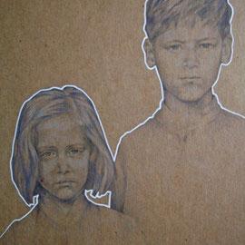 """""""Fratello e sorella"""" - pastello su cartoncino colorato cm. 40 x 30"""