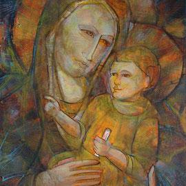 """""""Madonna con Bambino"""", olio e cera fredda su tavola, cm. 35 x 47,5 - € 150,00"""