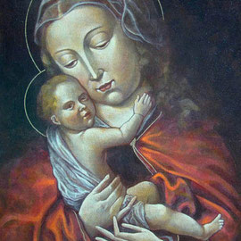 """""""Madonna col Bambino"""" da arte spagnola XV secolo - acrilico su tela applicata su tavola - Cernusco sul Naviglio, collezione privata"""