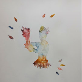 """L'envol"" - gravure sur tetrapack - A3 - 2021 - Mathilde Bouvard"