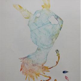 """""""Le baiser de Cupidon"""" - gravure sur tetrapack - A3 - 2021 - Mathilde Bouvard"""