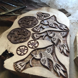Carving wood slice - rural skill of India