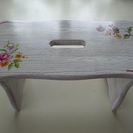 Tabouret en bois peint - Imitation bois cérusé & décor floral- Pascale Richert