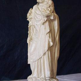 Statue religieuse en plâtre avant restauration - Joseph (60 cm ) - copyright Pascale Richert