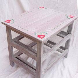 Petite table de desserte en bois peint - Imitation bois cérusé & décor floral- Pascale Richert