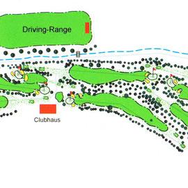 """Geländeskizze des Golfplatzes aus der Festschrift des Golf-Clubs Bad Nauheim e.V """"1904 - 2004: 100 Jahre Golf in Bad Nauheim"""""""