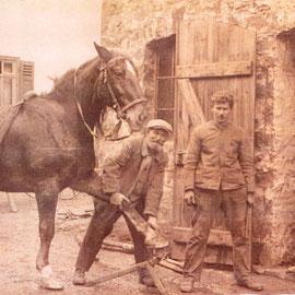 Foto Sammlung Gerda Bonarius: Schmied Schwegler beim Beschlagen eines Pferdes in seiner Schmiede Hintergasse 49 in Steinfurth um 1925