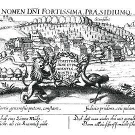 Foto Sammlung Gerda Bonarius, Darstellung Steinfurths um 1625 von Daniel Meissner mit allegorischer Darstellung der Familie Löw mit einem Löwen als Sinnbild für Mut und einem Kranich als Sinnbild für Umsicht und Vorsicht