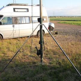 Kurbelmast auf dem 3 Bein-Stativ (25mm Vierkantrohr) 1,35m hoch