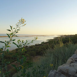 """verträumter Blick am Abend von den Mauern in """"Cacela Velha"""" herunter über die Lagunenlandschaft des Naturschutzgebietes Ria Formosa gen Westen"""