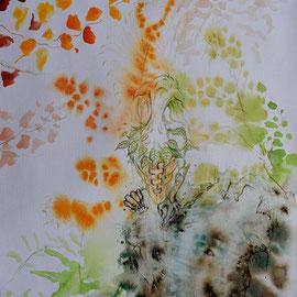Feenstiefel 2;  Martin Welzel 2016; Tusche/Acryl/Farbstifte auf Aquarellpapier; 40 x 30 cm