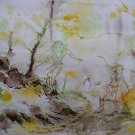 Feenstiefel 3;  Martin Welzel 2016; Tusche/Acryl/Farbstifte auf Aquarellpapier; 30 x 40 cm
