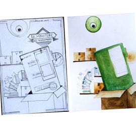 Croquis papier et recherches peinture des premiers éléments