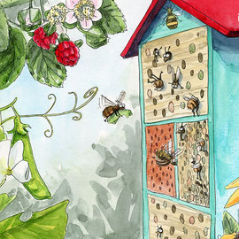 Illustration Wildbienen Nisthilfe