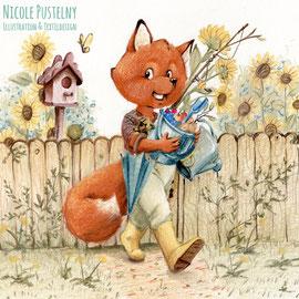 Kinderbuchillustration Fuchs kommt aus seinem Garten, Pastell