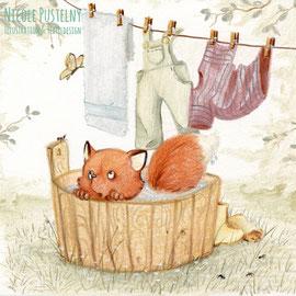 Kinderbuchillustration Fuchs in der Wassertonne, Pastell