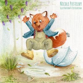 Kinderbuchillustration Fuchs springt über eine Pfütze, Pastell