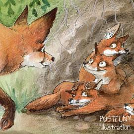 Illustration Fuchs Familie