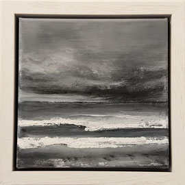 """""""Plage Normandie in witner"""" no.3 / acrylic on linnen canvas / 20x20 cm (framed: 25x25x5cm) sold (private collection in Nederland)"""