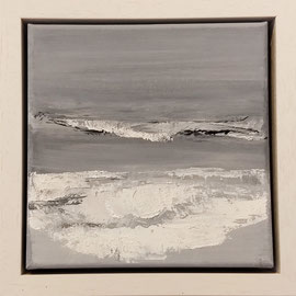 """""""Plage Normandie in witner"""" no.2 / acrylic on linnen canvas / 20x20 cm (framed: 25x25x5cm) sold (private collection in Nederland)"""