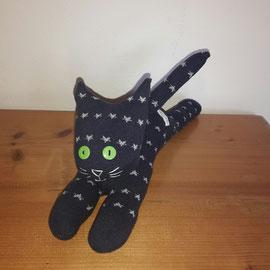 Sockenkatze, dunkelblau mit Sternchen