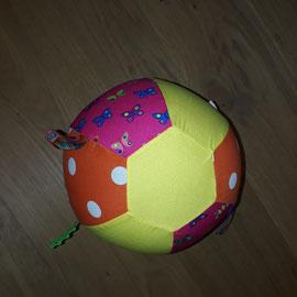 Luftballonhülle mit Bändern, pink, gelb-orange mit Schmetterlingen