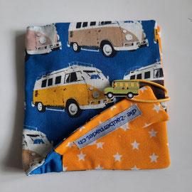 Pixibuchhülle, blau mit VW-Bus