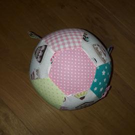 Luftballonhülle mit Bändern,weiss mit Kuchen-rosa-grün-türkis