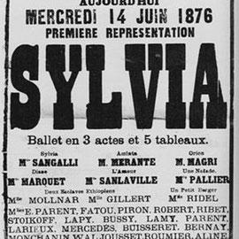 Cartel para el estreno de Sylvia en el Teatro de la Ópera de París en 1876.