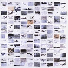 Berge und See, 220/220cm, Mischtechnik auf Papier, 2014