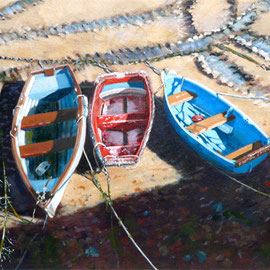 A Tangle of Tracks and Tenders - Oil on canvas board, 12 x 16 inches (30 x 40 cm)