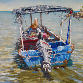 Sorting the catch, Penang - Oil, 10 x 8 inches (25 x 20 cm)