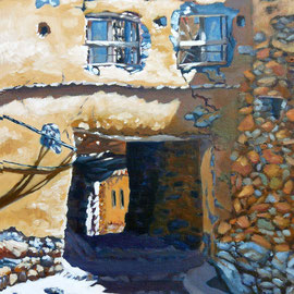 Ruined gatehouse, Jebel Akhdar, Oman - Oil on canvas board, 16 x 12 inches