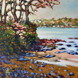 Winter, Helford River, Cornwall - Oil on canvas board, 12 x 12 inches (30 x 30 cm)