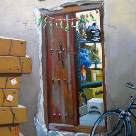 Souk storeroom with marigolds, Dubai - oil on canvas board, 12 x 10 inches