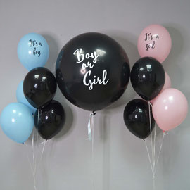 шарик на определения пола с розовым конфетти