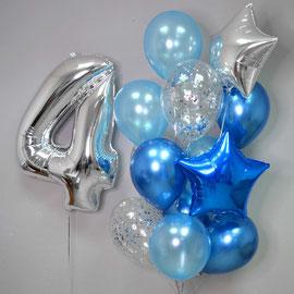 Воздушные шары в синей гамме