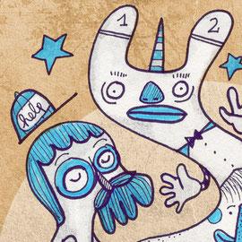 Illustration Kleines Einhorn betritt die Szene und ist verwirrt – Detail
