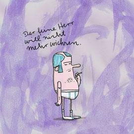 Illustration eines Herrn in Feinripp Unterhose mit Zigarette