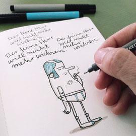 Zeichnung eines Herrn in Feinripp Unterhose mit Zigarette entsteht im Skizzenbuch