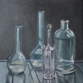 Stillleben mit Flaschen (2013, Acryl auf Leinwand, 40x40 cm)