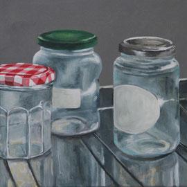 Stillleben mit Marmeladengläsern (2014, Acryl auf Leinwand, 40x40 cm)