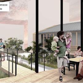 Esquisse projet habitat participatif quartier Brazza, Bordeaux, vue terrasse commune