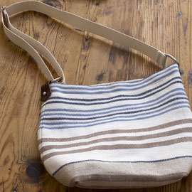 Bolso Málaga - Lino, algodón y piel -  con forro y bolsillo interior 28x31 cm