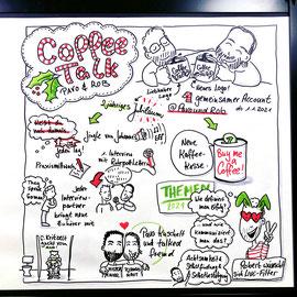 """""""Jahresausblick"""" , Pavo & Rob Coffeetalk, Livesketch auf der Graphic Walley"""