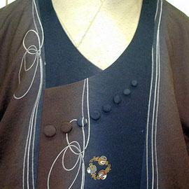 ときめきコートの襟。8個のくるみボタンがアクセントです。