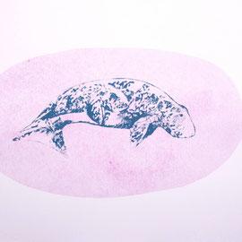 KARINA MENDRECZKY, whale2, Radierung, Bleistift, Hochdruck, Aquarell auf Papier, Unikat, 40x50cm