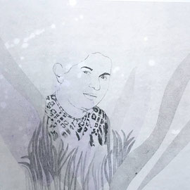KARINA MENDRECZKY, Magda, Radierung, Bleistift, Hochdruck, Aquarell auf Papier Unikat 50x70cm